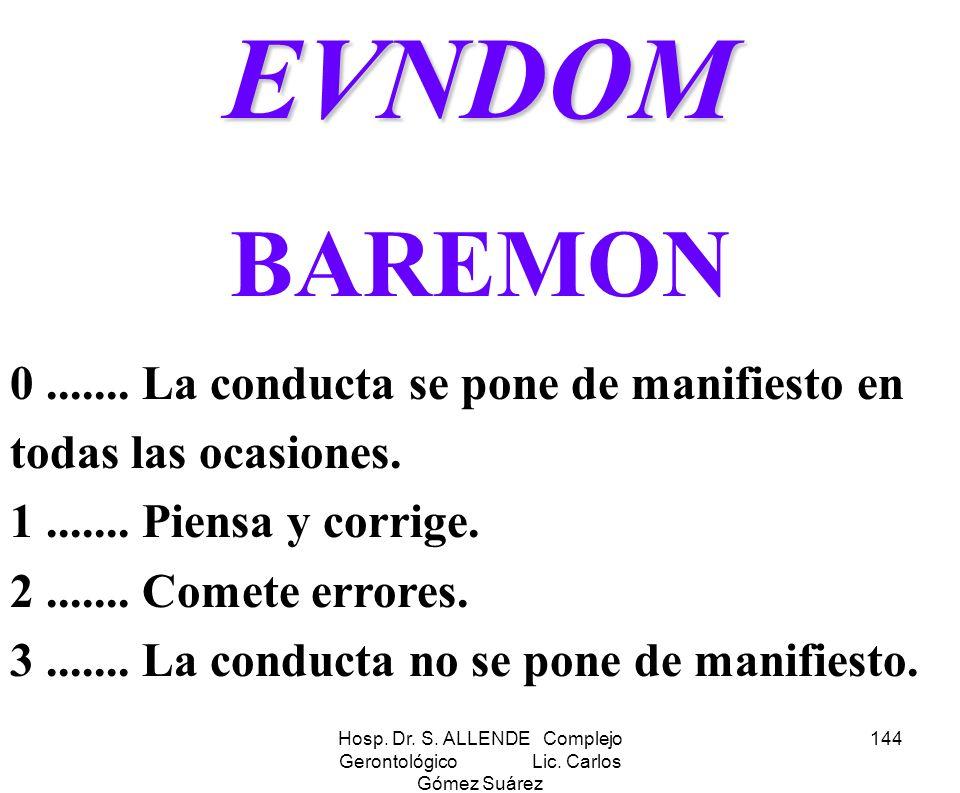 Hosp. Dr. S. ALLENDE Complejo Gerontológico Lic. Carlos Gómez Suárez 144EVNDOM BAREMON 0....... La conducta se pone de manifiesto en todas las ocasion
