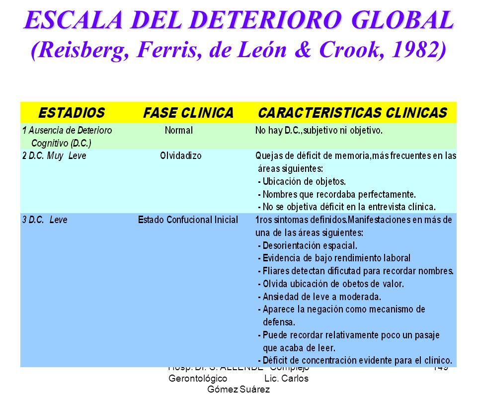 Hosp. Dr. S. ALLENDE Complejo Gerontológico Lic. Carlos Gómez Suárez 149 ESCALA DEL DETERIORO GLOBAL ESCALA DEL DETERIORO GLOBAL (Reisberg, Ferris, de