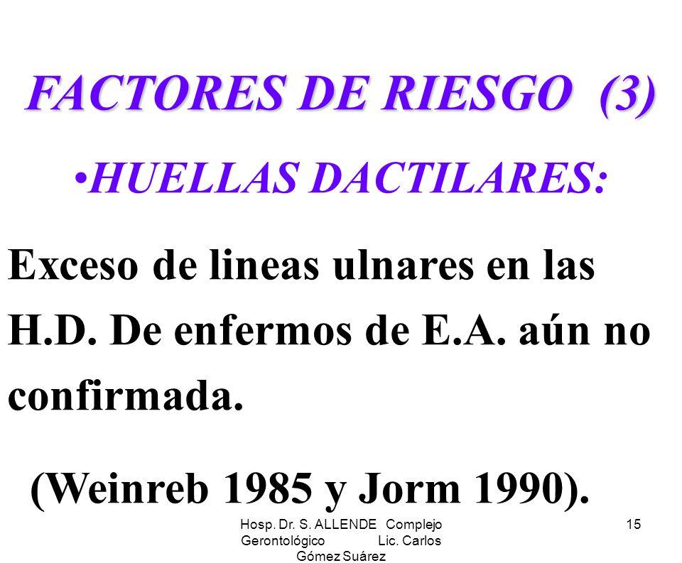 Hosp. Dr. S. ALLENDE Complejo Gerontológico Lic. Carlos Gómez Suárez 15 FACTORES DE RIESGO (3) HUELLAS DACTILARES: Exceso de lineas ulnares en las H.D
