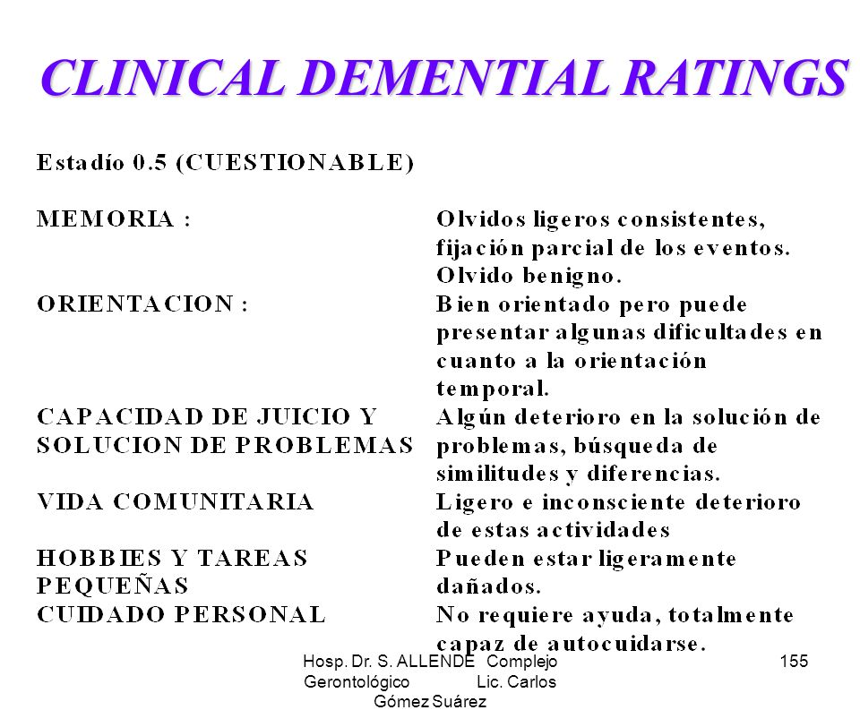 Hosp. Dr. S. ALLENDE Complejo Gerontológico Lic. Carlos Gómez Suárez 155 CLINICAL DEMENTIAL RATINGS CLINICAL DEMENTIAL RATINGS
