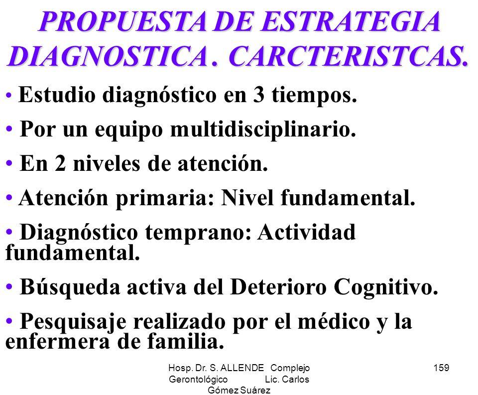 Hosp. Dr. S. ALLENDE Complejo Gerontológico Lic. Carlos Gómez Suárez 159 PROPUESTA DE ESTRATEGIA DIAGNOSTICA. CARCTERISTCAS. Estudio diagnóstico en 3