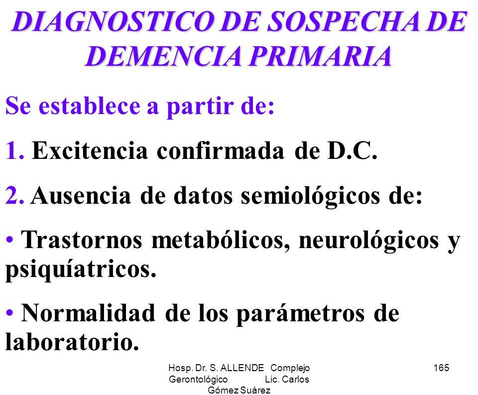 Hosp. Dr. S. ALLENDE Complejo Gerontológico Lic. Carlos Gómez Suárez 165 DIAGNOSTICO DE SOSPECHA DE DEMENCIA PRIMARIA Se establece a partir de: 1. Exc