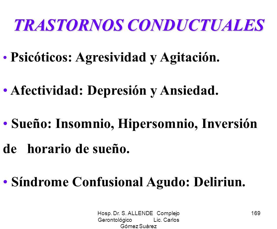 Hosp. Dr. S. ALLENDE Complejo Gerontológico Lic. Carlos Gómez Suárez 169 TRASTORNOS CONDUCTUALES Psicóticos: Agresividad y Agitación. Afectividad: Dep