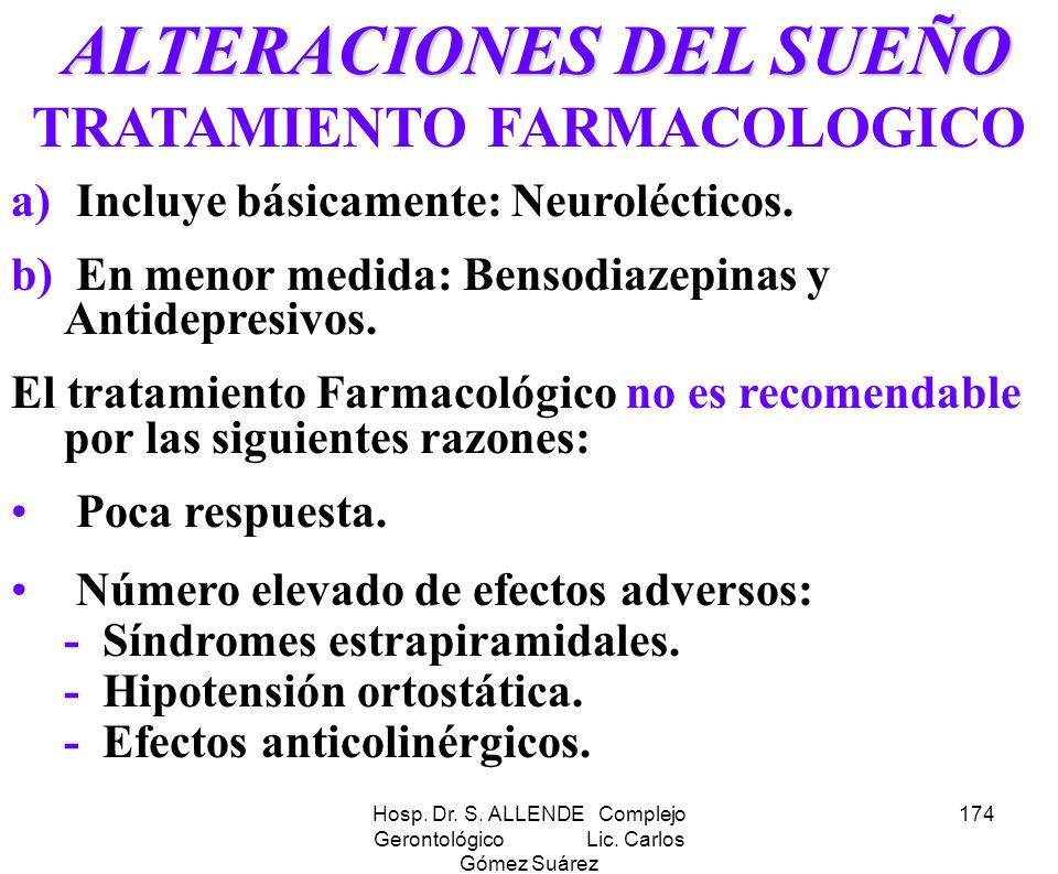 Hosp. Dr. S. ALLENDE Complejo Gerontológico Lic. Carlos Gómez Suárez 174 ALTERACIONES DEL SUEÑO ALTERACIONES DEL SUEÑO TRATAMIENTO FARMACOLOGICO a) In