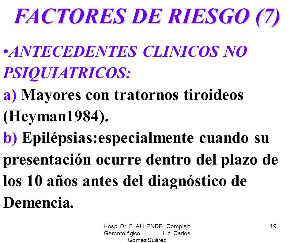Hosp. Dr. S. ALLENDE Complejo Gerontológico Lic. Carlos Gómez Suárez 19 FACTORES DE RIESGO (7) ANTECEDENTES CLINICOS NO PSIQUIATRICOS: a) Mayores con