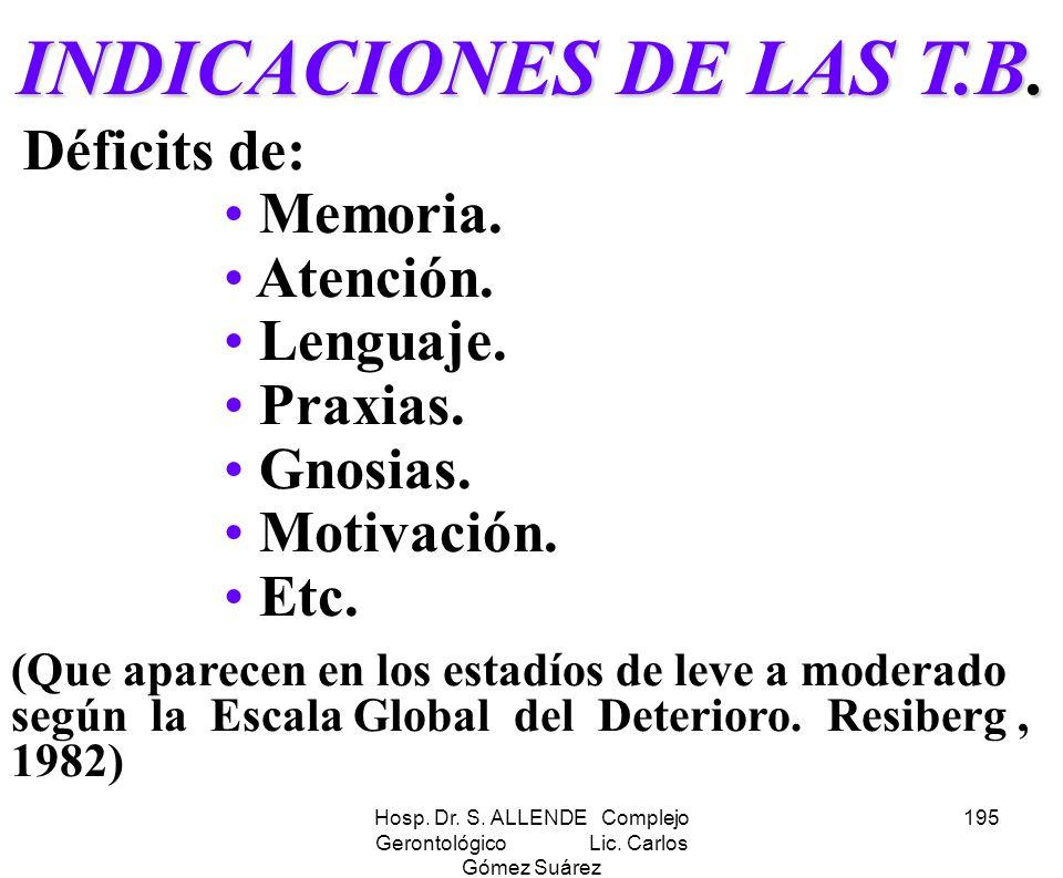 Hosp. Dr. S. ALLENDE Complejo Gerontológico Lic. Carlos Gómez Suárez 195 INDICACIONES DE LAS T.B. Déficits de: Memoria. Atención. Lenguaje. Praxias. G
