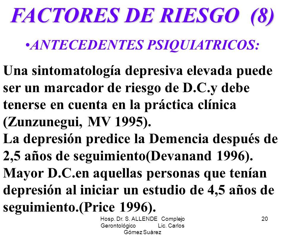 Hosp. Dr. S. ALLENDE Complejo Gerontológico Lic. Carlos Gómez Suárez 20 FACTORES DE RIESGO (8) ANTECEDENTES PSIQUIATRICOS: Una sintomatología depresiv