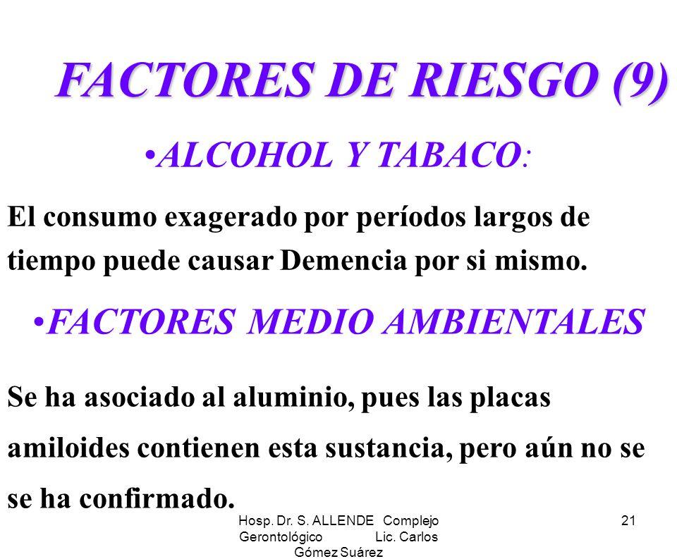 Hosp. Dr. S. ALLENDE Complejo Gerontológico Lic. Carlos Gómez Suárez 21 FACTORES DE RIESGO (9) ALCOHOL Y TABACO: El consumo exagerado por períodos lar