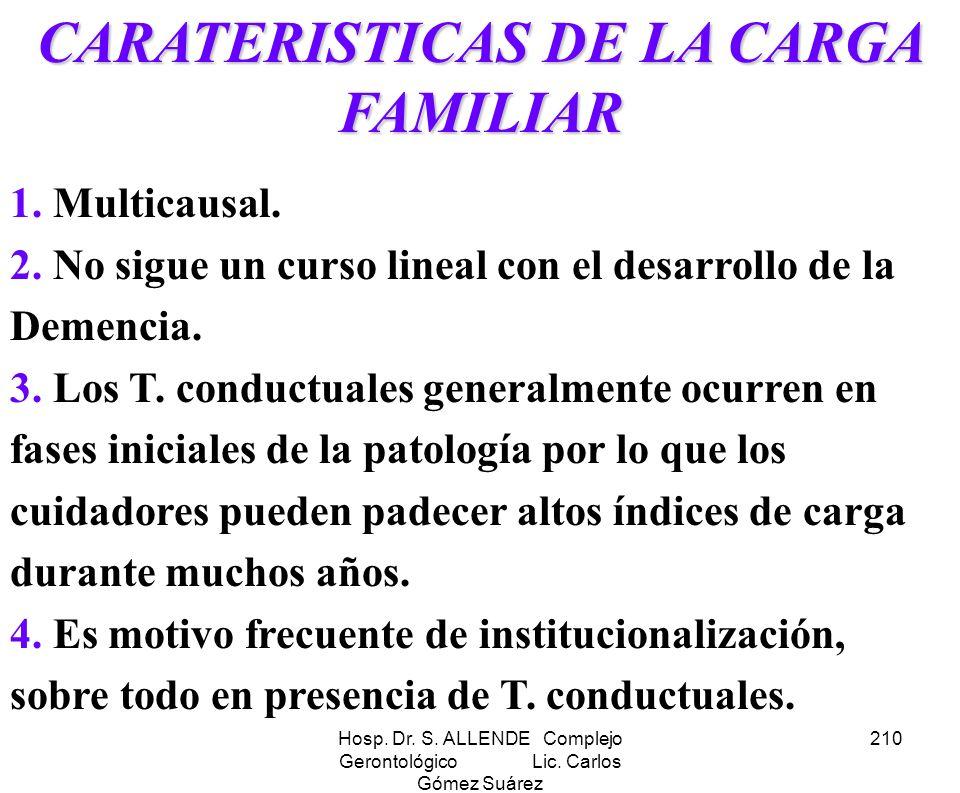 Hosp. Dr. S. ALLENDE Complejo Gerontológico Lic. Carlos Gómez Suárez 210 CARATERISTICAS DE LA CARGA FAMILIAR 1. Multicausal. 2. No sigue un curso line