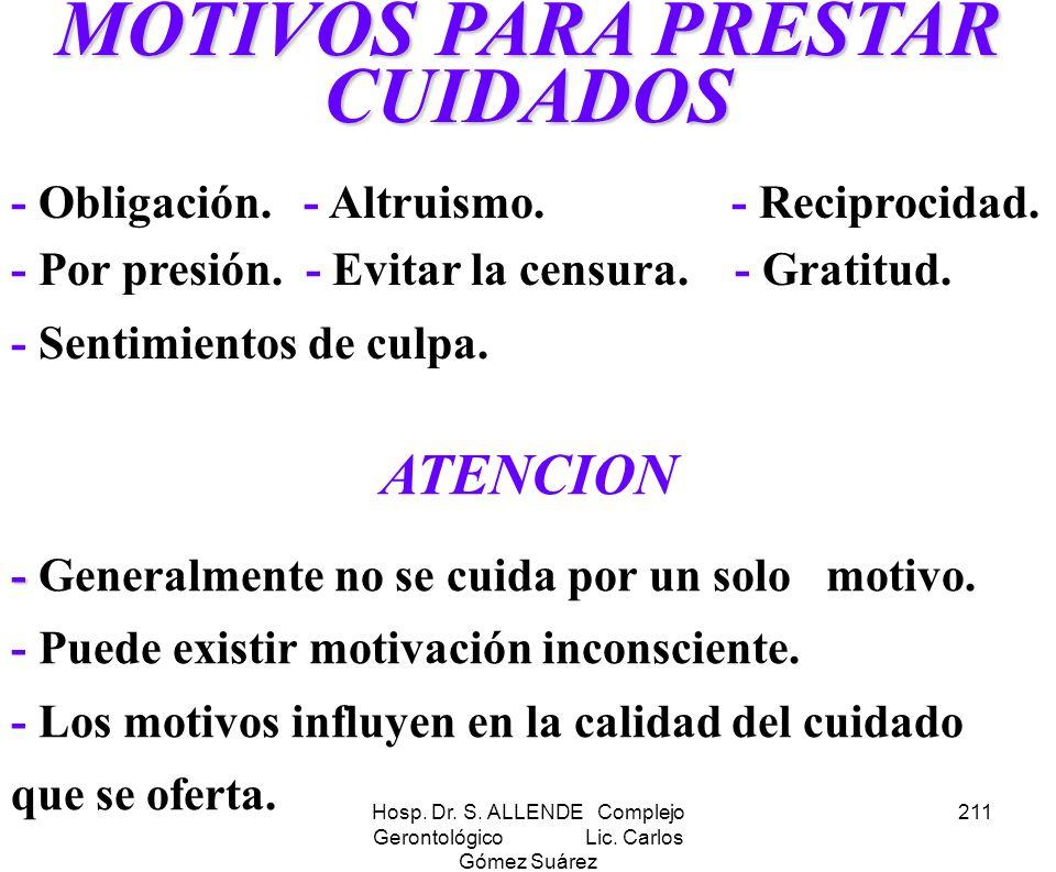 Hosp. Dr. S. ALLENDE Complejo Gerontológico Lic. Carlos Gómez Suárez 211 MOTIVOS PARA PRESTAR CUIDADOS - Obligación. - Altruismo. - Reciprocidad. - Po
