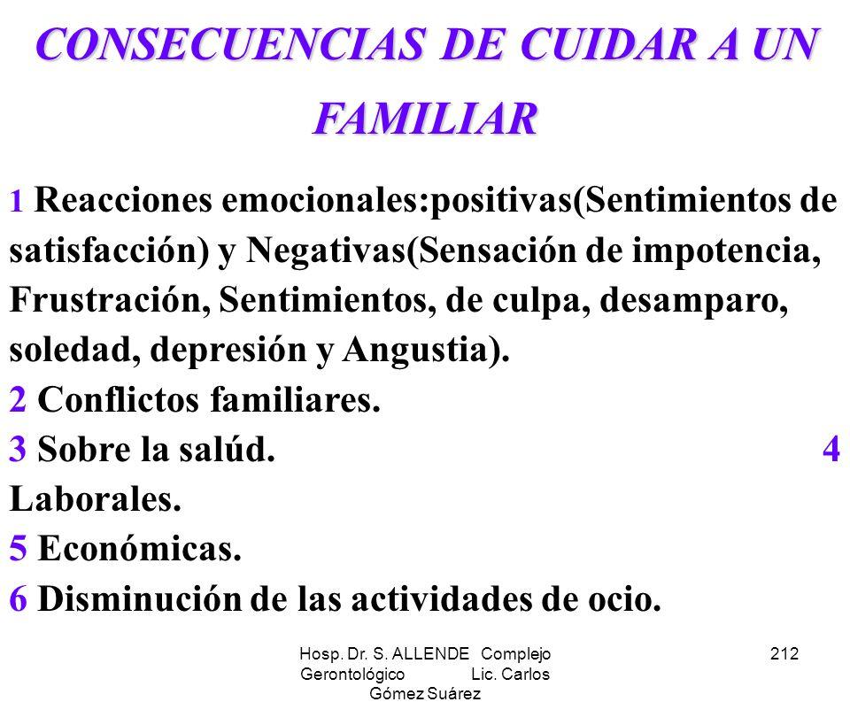 Hosp. Dr. S. ALLENDE Complejo Gerontológico Lic. Carlos Gómez Suárez 212 CONSECUENCIAS DE CUIDAR A UN FAMILIAR 1 Reacciones emocionales:positivas(Sent