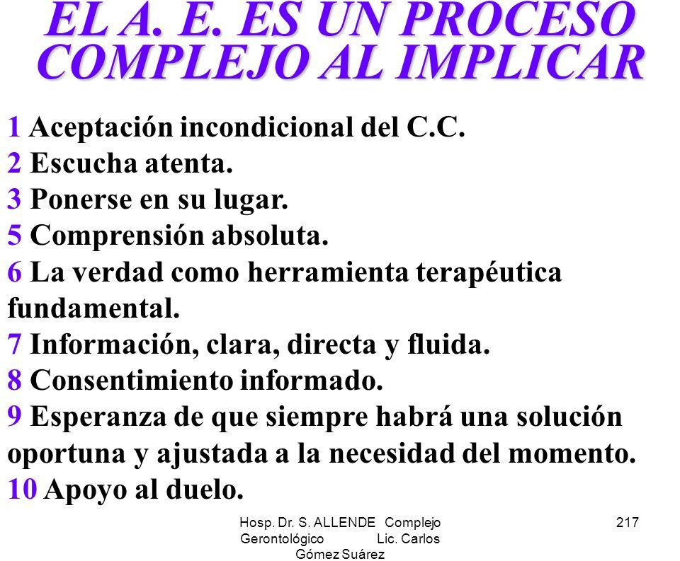 Hosp. Dr. S. ALLENDE Complejo Gerontológico Lic. Carlos Gómez Suárez 217 EL A. E. ES UN PROCESO COMPLEJO AL IMPLICAR 1 Aceptación incondicional del C.