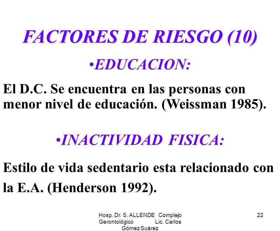 Hosp. Dr. S. ALLENDE Complejo Gerontológico Lic. Carlos Gómez Suárez 22 FACTORES DE RIESGO(10) FACTORES DE RIESGO (10) EDUCACION: El D.C. Se encuentra