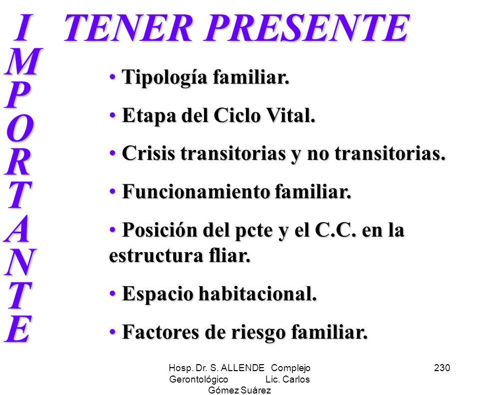 Hosp. Dr. S. ALLENDE Complejo Gerontológico Lic. Carlos Gómez Suárez 230 IMPORTANTE IMPORTANTEIMPORTANTE IMPORTANTE TENER PRESENTE Tipología familiar.
