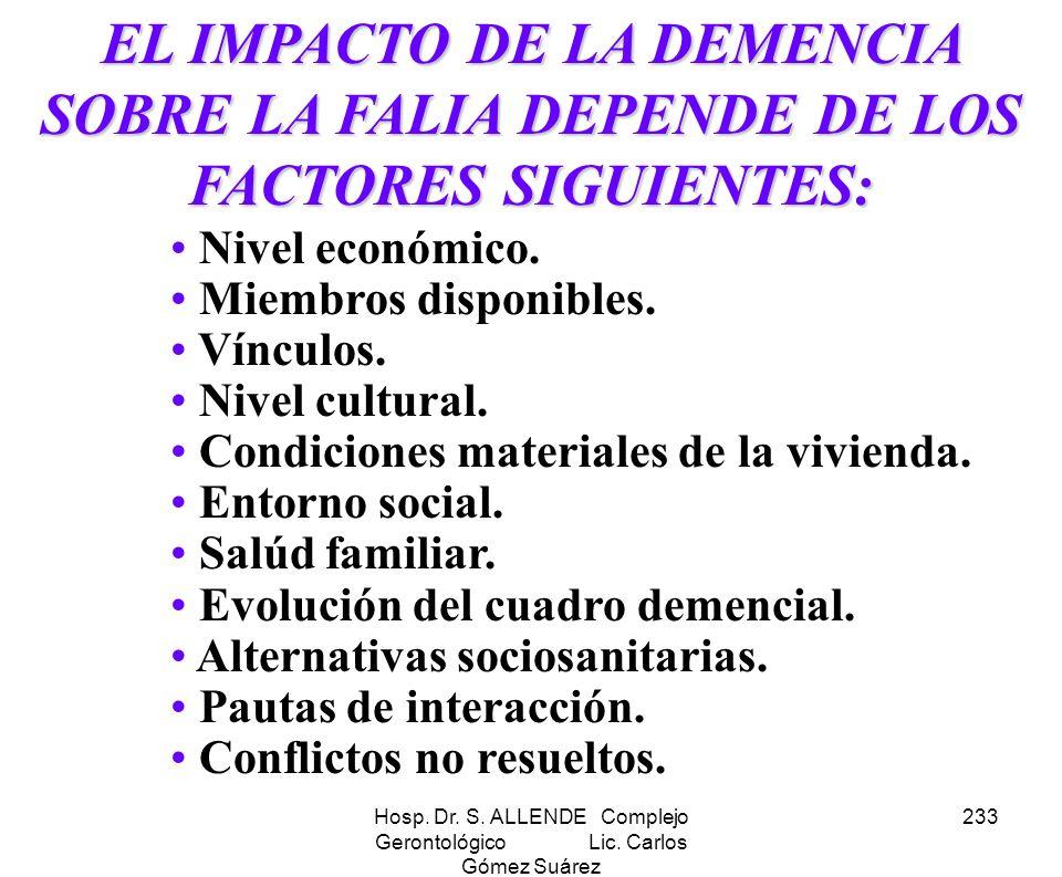 Hosp. Dr. S. ALLENDE Complejo Gerontológico Lic. Carlos Gómez Suárez 233 EL IMPACTO DE LA DEMENCIA SOBRE LA FALIA DEPENDE DE LOS FACTORES SIGUIENTES: