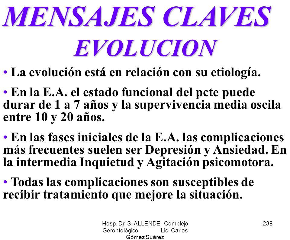 Hosp. Dr. S. ALLENDE Complejo Gerontológico Lic. Carlos Gómez Suárez 238 MENSAJES CLAVES EVOLUCION La evolución está en relación con su etiología. En