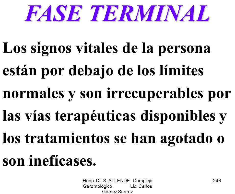 Hosp. Dr. S. ALLENDE Complejo Gerontológico Lic. Carlos Gómez Suárez 246 FASE TERMINAL Los signos vitales de la persona están por debajo de los límite