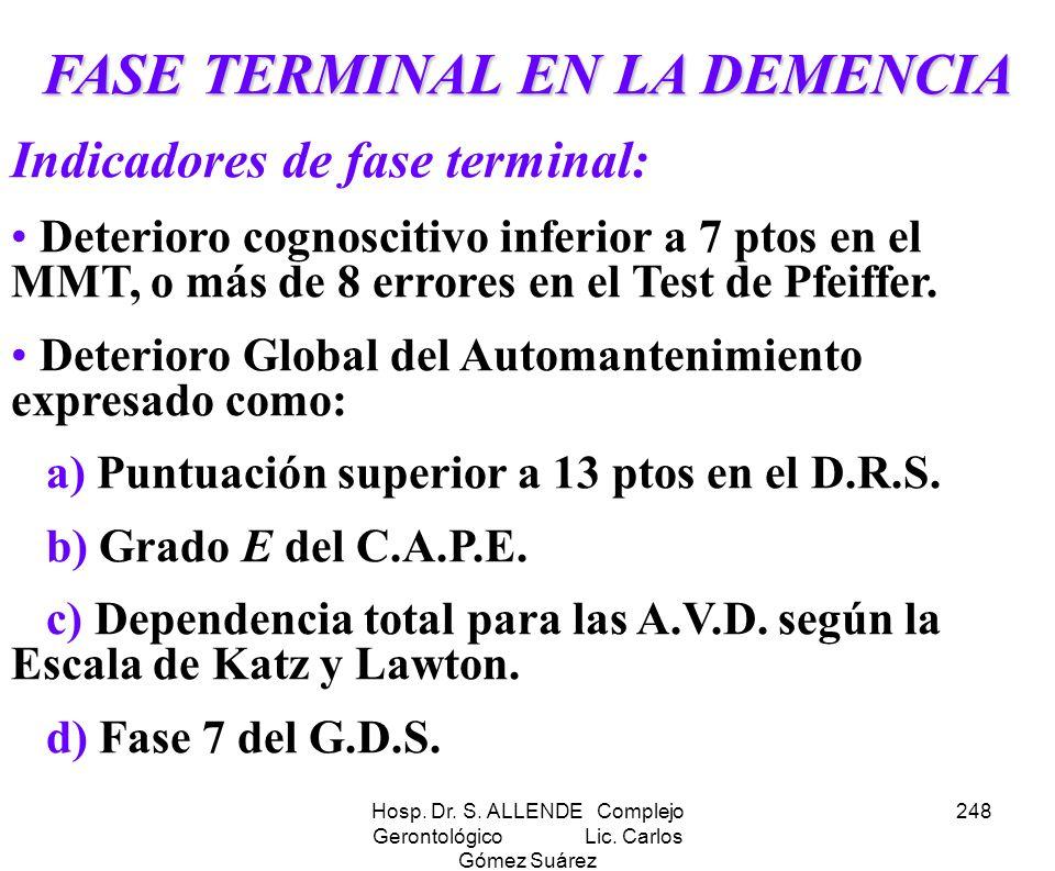 Hosp. Dr. S. ALLENDE Complejo Gerontológico Lic. Carlos Gómez Suárez 248 FASE TERMINAL EN LA DEMENCIA Indicadores de fase terminal: Deterioro cognosci