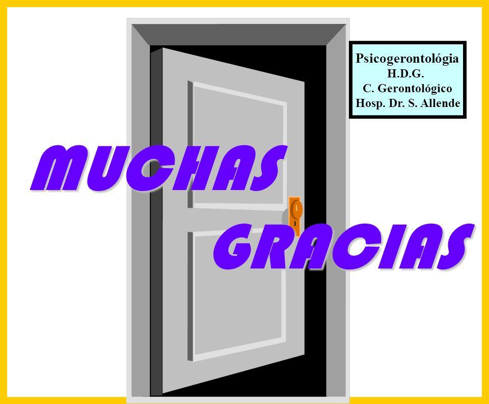 Hosp. Dr. S. ALLENDE Complejo Gerontológico Lic. Carlos Gómez Suárez 252 Psicogerontológia H.D.G. C. Gerontológico Hosp. Dr. S. Allende MUCHAS GRACIAS