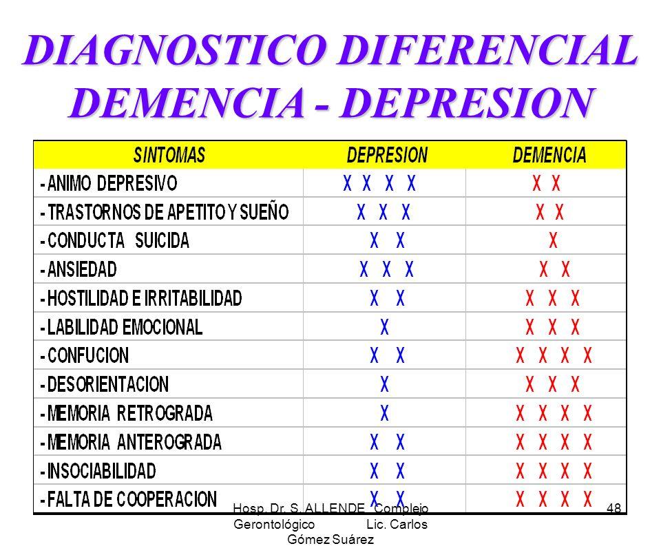 Hosp. Dr. S. ALLENDE Complejo Gerontológico Lic. Carlos Gómez Suárez 48 DIAGNOSTICO DIFERENCIAL DEMENCIA - DEPRESION