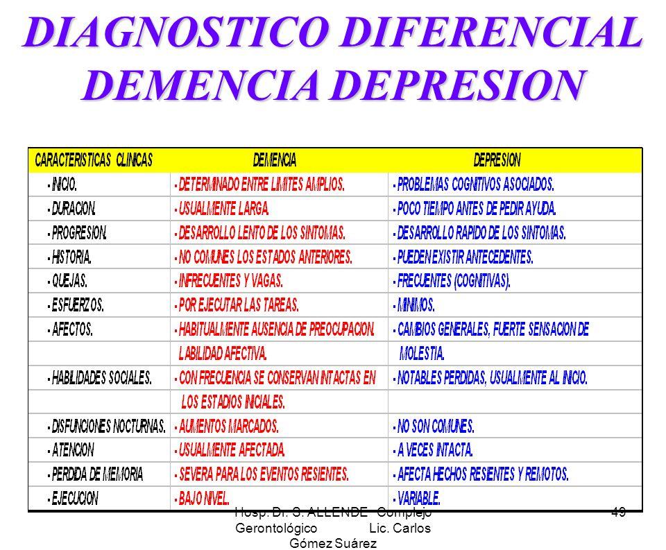 Hosp. Dr. S. ALLENDE Complejo Gerontológico Lic. Carlos Gómez Suárez 49 DIAGNOSTICO DIFERENCIAL DEMENCIA DEPRESION