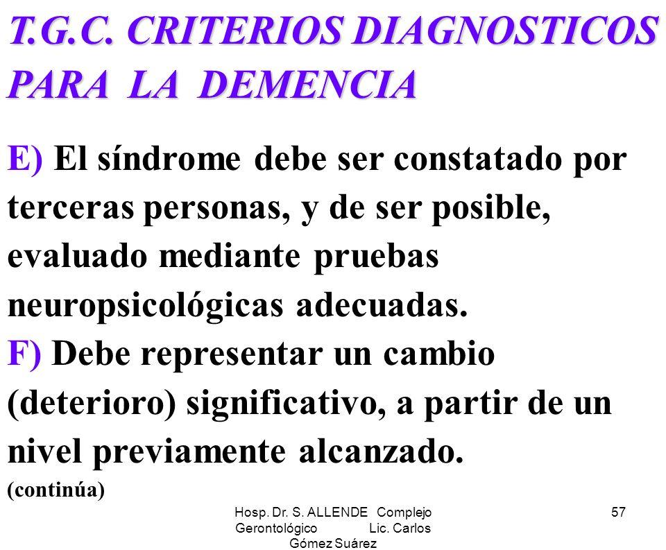 Hosp. Dr. S. ALLENDE Complejo Gerontológico Lic. Carlos Gómez Suárez 57 T.G.C. CRITERIOS DIAGNOSTICOS PARA LA DEMENCIA E) El síndrome debe ser constat