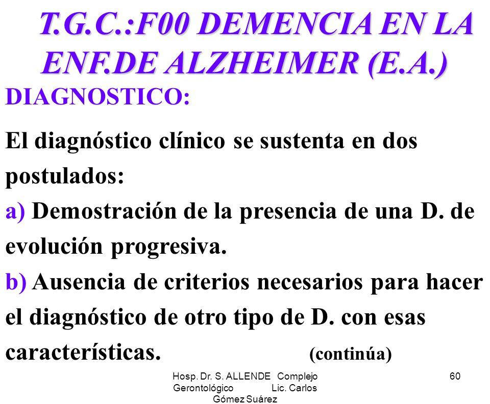 Hosp. Dr. S. ALLENDE Complejo Gerontológico Lic. Carlos Gómez Suárez 60 T.G.C.:F00 DEMENCIA EN LA ENF.DE ALZHEIMER (E.A.) T.G.C.:F00 DEMENCIA EN LA EN