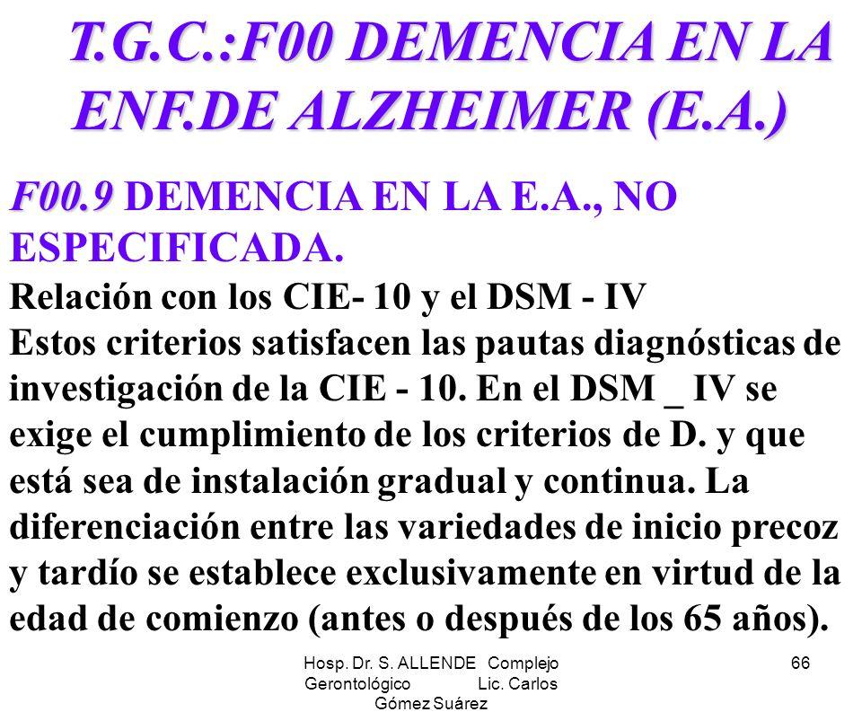 Hosp. Dr. S. ALLENDE Complejo Gerontológico Lic. Carlos Gómez Suárez 66 T.G.C.:F00 DEMENCIA EN LA ENF.DE ALZHEIMER (E.A.) T.G.C.:F00 DEMENCIA EN LA EN