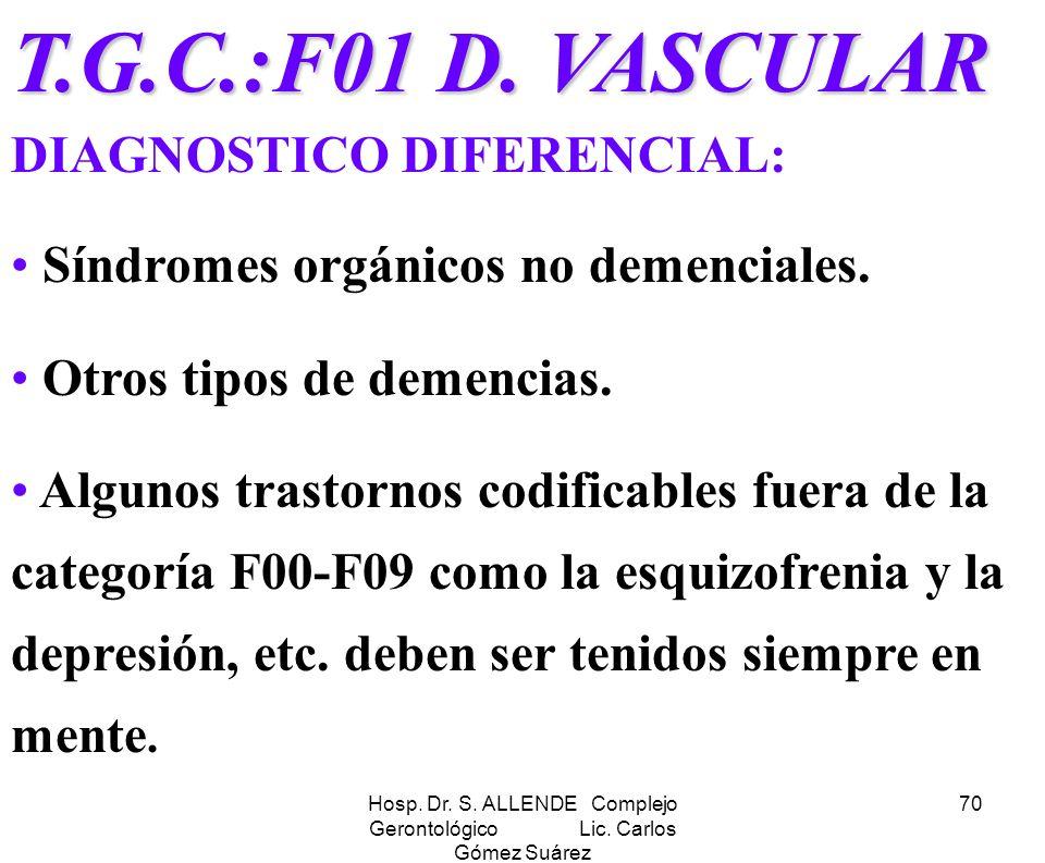 Hosp. Dr. S. ALLENDE Complejo Gerontológico Lic. Carlos Gómez Suárez 70 T.G.C.:F01 D. VASCULAR T.G.C.:F01 D. VASCULAR DIAGNOSTICO DIFERENCIAL: Síndrom