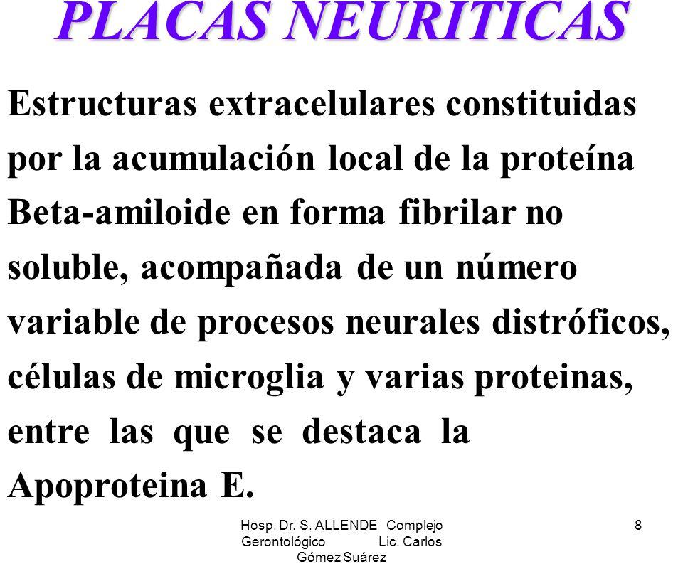 Hosp. Dr. S. ALLENDE Complejo Gerontológico Lic. Carlos Gómez Suárez 8 PLACAS NEURITICAS Estructuras extracelulares constituidas por la acumulación lo