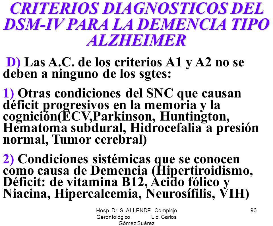 Hosp. Dr. S. ALLENDE Complejo Gerontológico Lic. Carlos Gómez Suárez 93 CRITERIOS DIAGNOSTICOS DEL DSM-IV PARA LA DEMENCIA TIPO ALZHEIMER D) Las A.C.