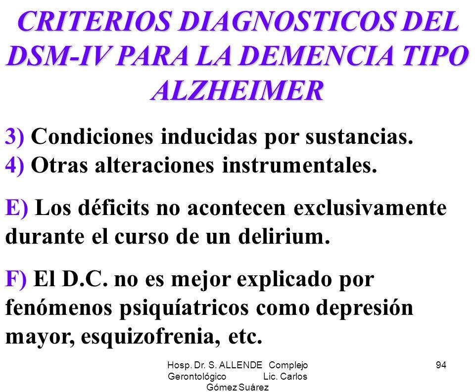 Hosp. Dr. S. ALLENDE Complejo Gerontológico Lic. Carlos Gómez Suárez 94 CRITERIOS DIAGNOSTICOS DEL DSM-IV PARA LA DEMENCIA TIPO ALZHEIMER 3) Condicion