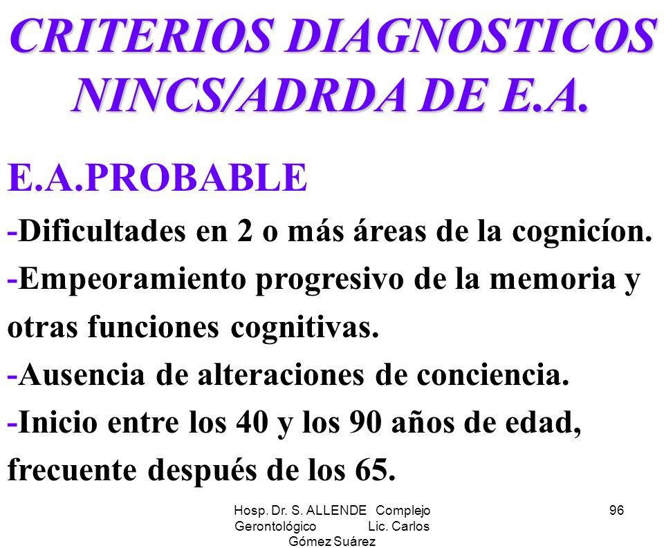 Hosp. Dr. S. ALLENDE Complejo Gerontológico Lic. Carlos Gómez Suárez 96 CRITERIOS DIAGNOSTICOS NINCS/ADRDA DE E.A. E.A.PROBABLE -Dificultades en 2 o m