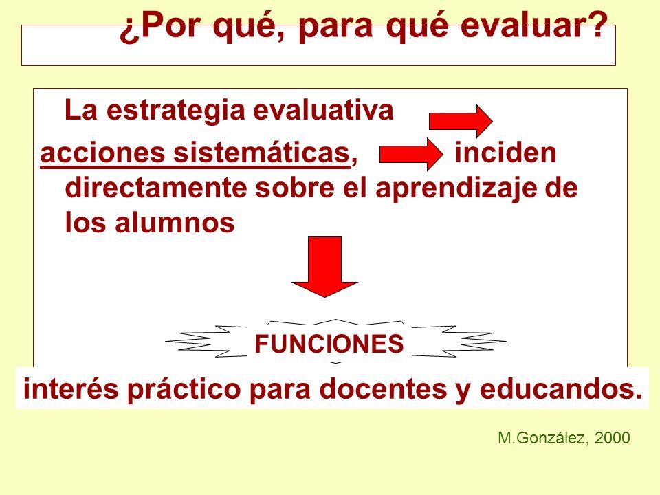 La estrategia evaluativa acciones sistemáticas, inciden directamente sobre el aprendizaje de los alumnos ¿Por qué, para qué evaluar? M.González, 2000
