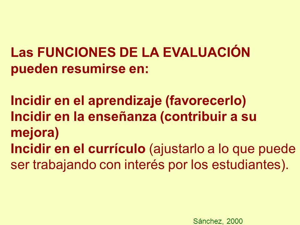 Sánchez, 2000 Las FUNCIONES DE LA EVALUACIÓN pueden resumirse en: Incidir en el aprendizaje (favorecerlo) Incidir en la enseñanza (contribuir a su mej