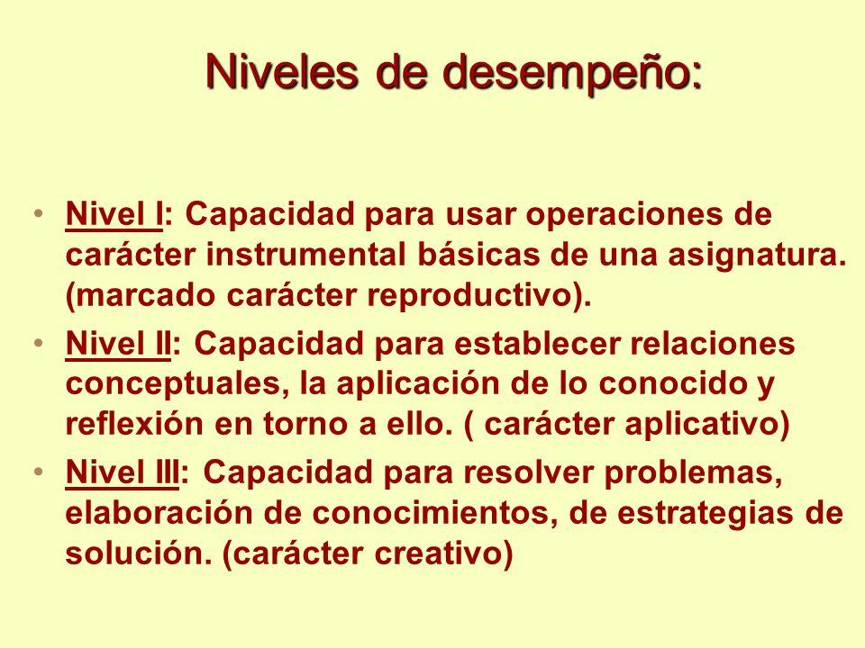 Niveles de desempeño: Nivel I: Capacidad para usar operaciones de carácter instrumental básicas de una asignatura. (marcado carácter reproductivo). Ni