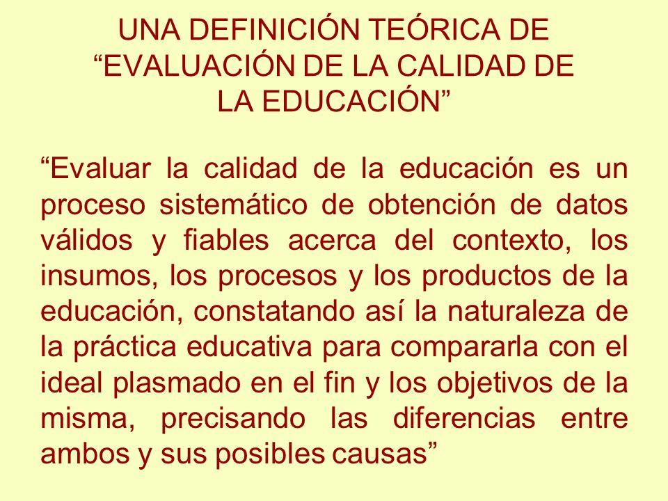 UNA DEFINICIÓN TEÓRICA DE EVALUACIÓN DE LA CALIDAD DE LA EDUCACIÓN Evaluar la calidad de la educación es un proceso sistemático de obtención de datos
