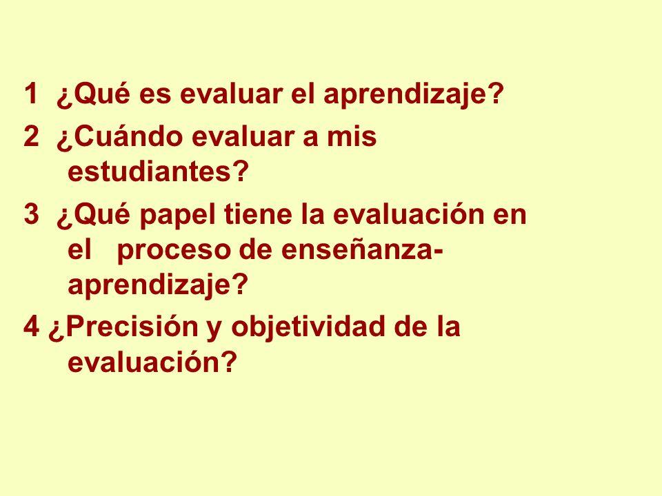 1 ¿Qué es evaluar el aprendizaje? 2 ¿Cuándo evaluar a mis estudiantes? 3 ¿Qué papel tiene la evaluación en el proceso de enseñanza- aprendizaje? 4 ¿Pr