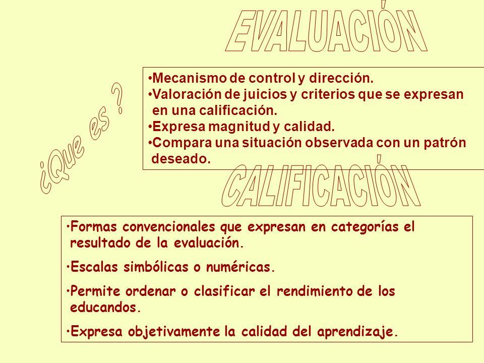 Mecanismo de control y dirección. Valoración de juicios y criterios que se expresan en una calificación. Expresa magnitud y calidad. Compara una situa