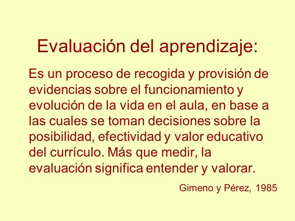 Evaluación del aprendizaje: Es un proceso de recogida y provisión de evidencias sobre el funcionamiento y evolución de la vida en el aula, en base a l
