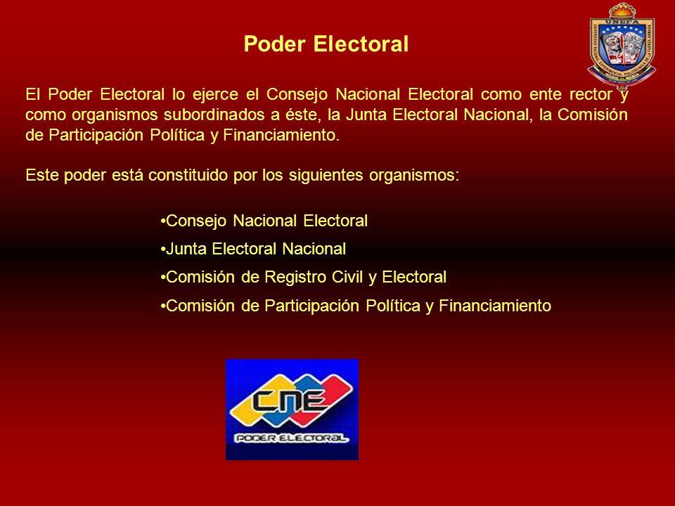 Poder Electoral El Poder Electoral lo ejerce el Consejo Nacional Electoral como ente rector y como organismos subordinados a éste, la Junta Electoral
