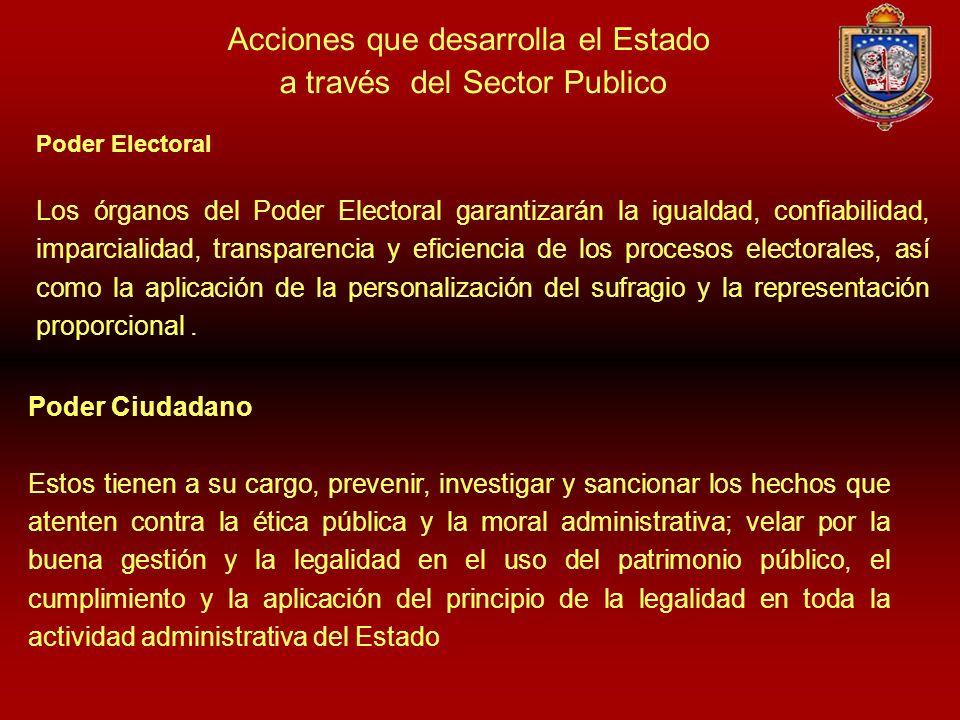 Acciones que desarrolla el Estado a través del Sector Publico Poder Electoral Los órganos del Poder Electoral garantizarán la igualdad, confiabilidad,