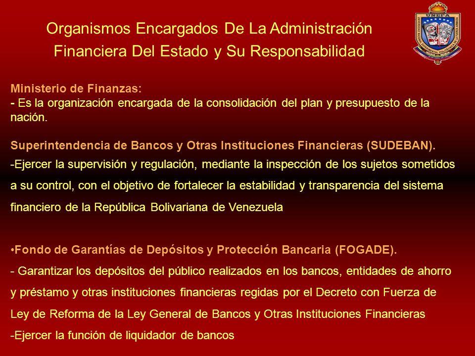Organismos Encargados De La Administración Financiera Del Estado y Su Responsabilidad Ministerio de Finanzas: - Es la organización encargada de la con