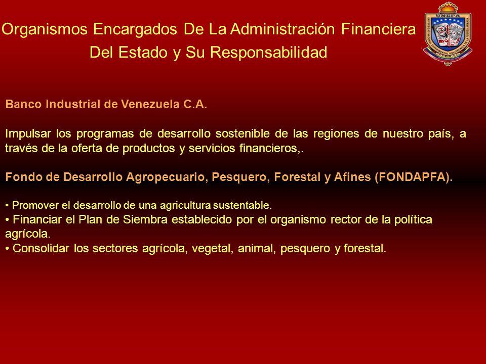 Organismos Encargados De La Administración Financiera Del Estado y Su Responsabilidad Banco Industrial de Venezuela C.A. Impulsar los programas de des
