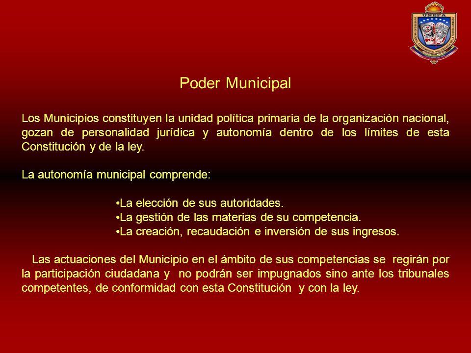 Poder Municipal Los Municipios constituyen la unidad política primaria de la organización nacional, gozan de personalidad jurídica y autonomía dentro