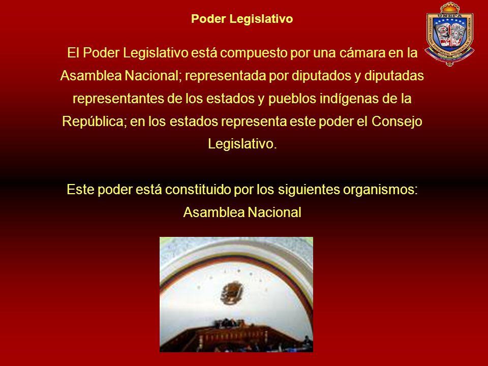 Poder Legislativo El Poder Legislativo está compuesto por una cámara en la Asamblea Nacional; representada por diputados y diputadas representantes de