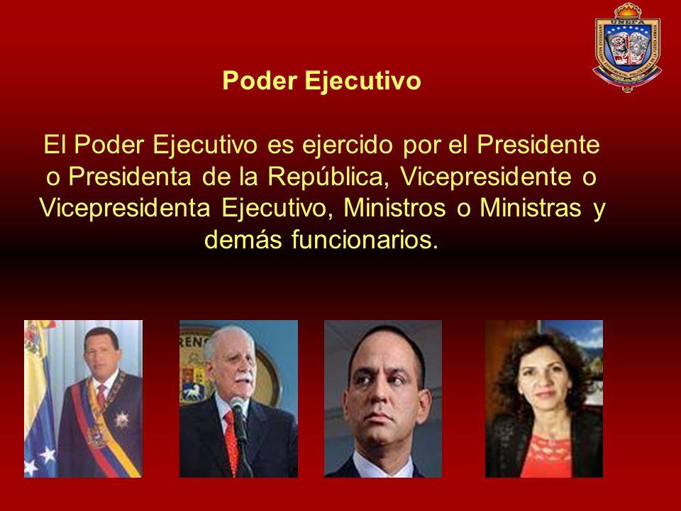 Poder Ejecutivo El Poder Ejecutivo es ejercido por el Presidente o Presidenta de la República, Vicepresidente o Vicepresidenta Ejecutivo, Ministros o