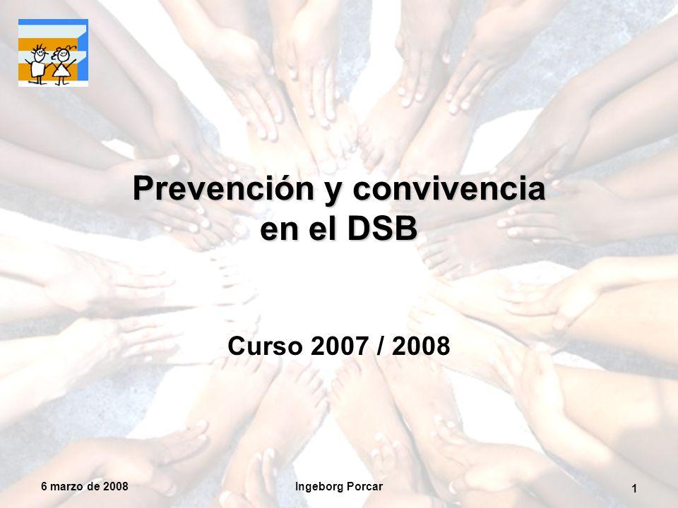 6 marzo de 2008Ingeborg Porcar 1 Prevención y convivencia en el DSB Curso 2007 / 2008
