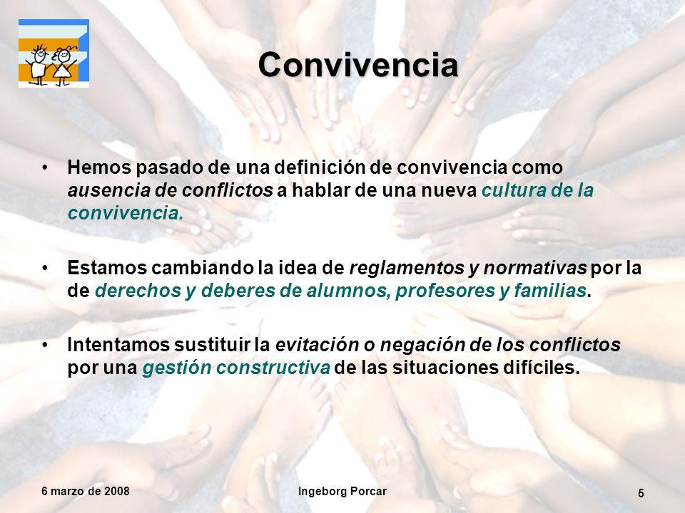 6 marzo de 2008Ingeborg Porcar 5 Convivencia Hemos pasado de una definición de convivencia como ausencia de conflictos a hablar de una nueva cultura de la convivencia.