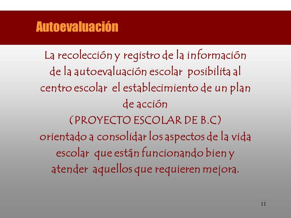 11 La recolección y registro de la información de la autoevaluación escolar posibilita al centro escolar el establecimiento de un plan de acción (PROY
